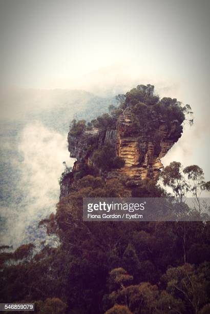 Rock Formation At Blue Mountains National Park In Foggy Weather