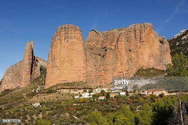 Rock formation called Los Mallos de Riglos in Aragon in the Spanish Pyrenees
