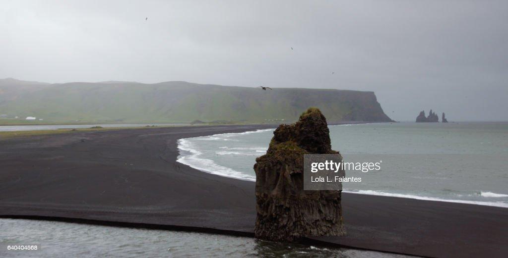 Rock formation in Reynisfjara, Iceland : Foto de stock