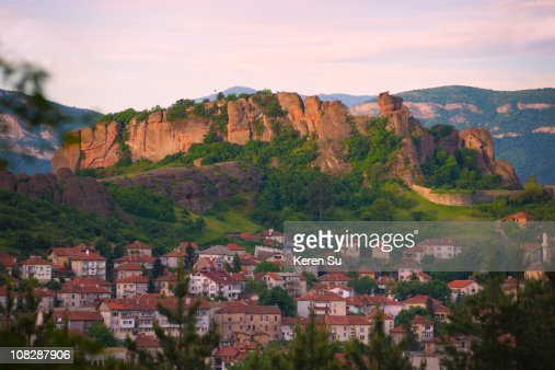 Rock formations amd town houses : Stock Photo