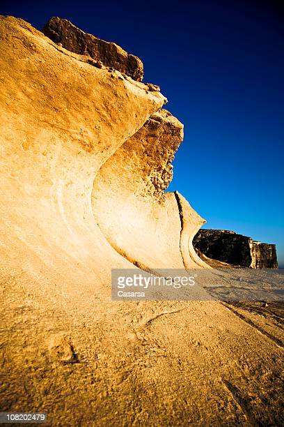 Rock Formations and Blue Sky Along Gozo Coastline