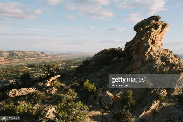 Rock formations and summit of Comb Ridge, Bears Ears National Monument in Utah.