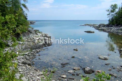 rock formations at coast georgian bay tobermory ontario cana stock