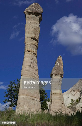 Rock formations at Love valley in Turkey : Foto de stock