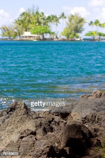 Rock formations at the seaside, Liliuokalani Park and Gardens, Hilo, Big Island, Hawaii Islands, USA : Foto de stock