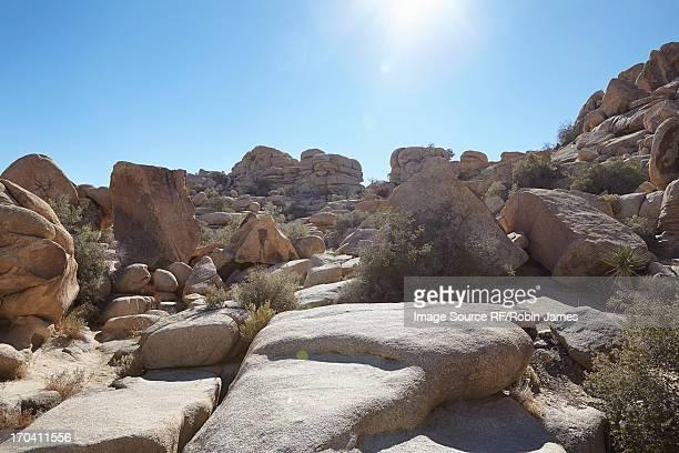 Rock formations in dry rural landscape