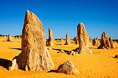 Rock formations in remote desert field