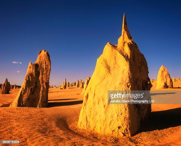 Rock formations in remote desert field