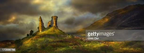 Rock formations in rural landscape, Kyleakin, Isle of Skye, Scotland