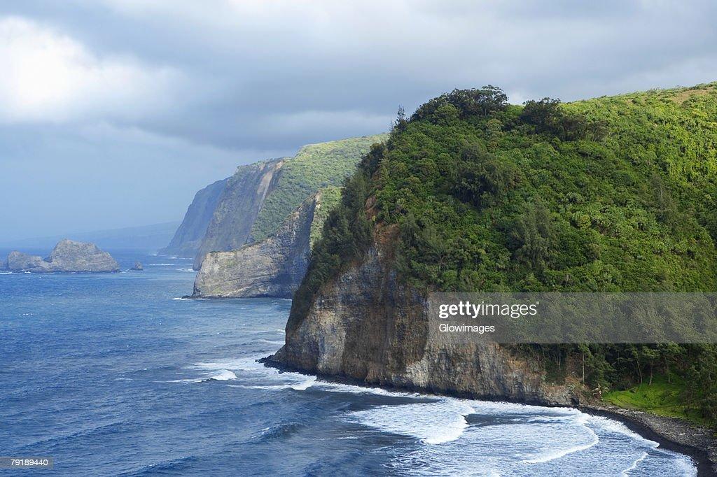 Rock formations in the sea, Pololu Valley, Kohala, Big Island, Hawaii Islands, USA : Foto de stock