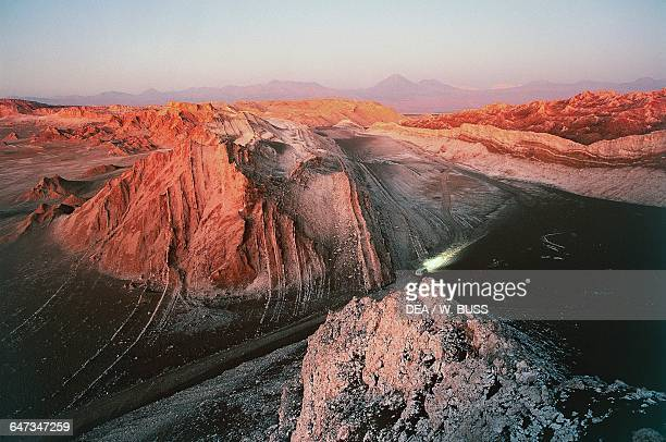 Rock formations in the Valley of the Moon sunset Atacama Desert Chile