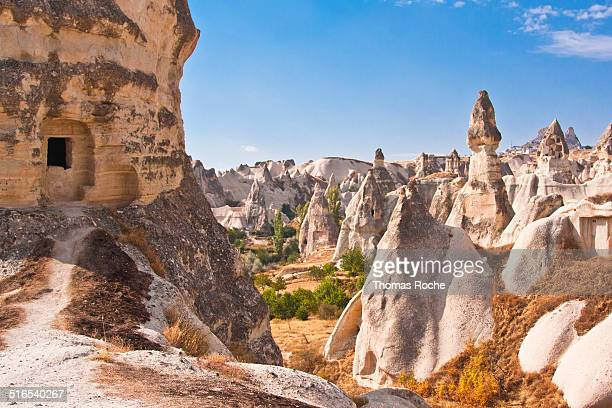 Rock formations in valley in Cappadocia