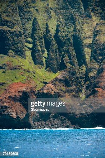 Rock formations on the coast, Na Pali Coast State Park, Kauai, Hawaii Islands, USA : Stock Photo