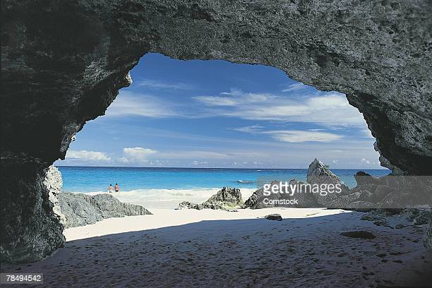 Rock formations on white sand beach , Bermuda