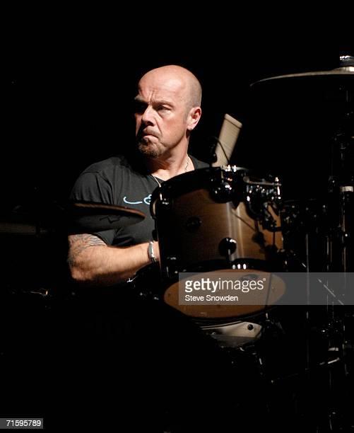 Rock group Foreigner drummer Jason Bonham son of the late Led Zeppelin drummer John Bonham performs at Route 66 Casino's Legends Theater on August 5...