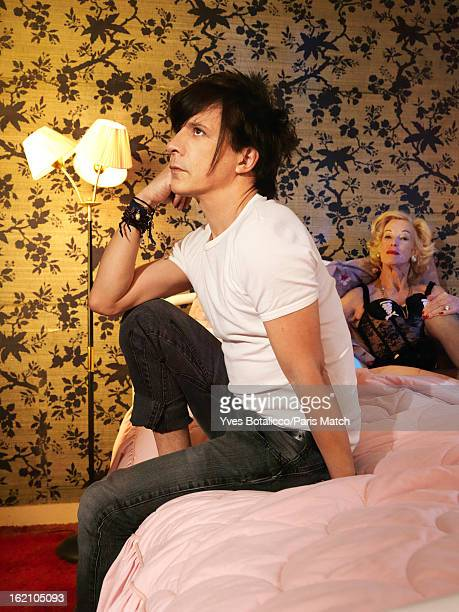 Rock group Indochine with lead singer Nicola Sirki are photographed for Paris Match on January 28 2013 in Paris France