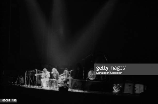 Rock group Led Zeppelin perform in concert at the Earls Court Arena on May 17 1975 in London England