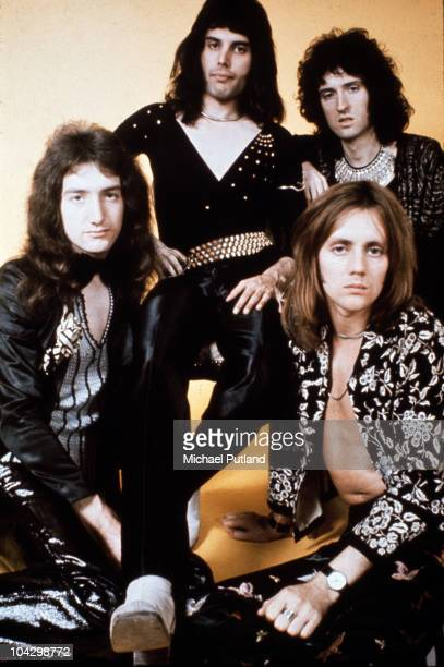 Rock group Queen pose for a group portrait in London January 1973 John Deacon Freddie Mercury Brian May and Roger Taylor