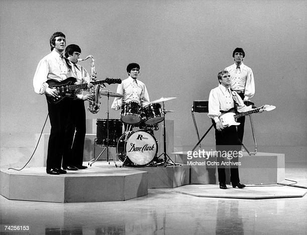 Rock group 'The Dave Clark Five' perform on a TV show in circa 1964 Rick Huxley Dennis 'Denny' Payton Dave Clark Lenny Davidson Mike Smith
