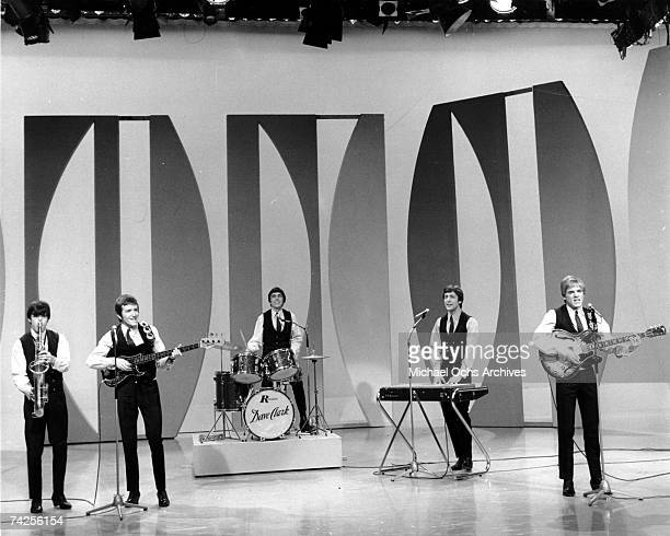 Rock group 'The Dave Clark Five' perform on a TV show in circa 1964 Dennis 'Denny' Payton Rick Huxley Dave Clark Mike Smith Lenny Davidson