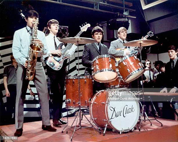 Rock group 'The Dave Clark Five' perform on a TV show in circa 1964 Denis 'Denny' Payton Rick Huxley Dave Clark Lenny Davidson Mike Smith