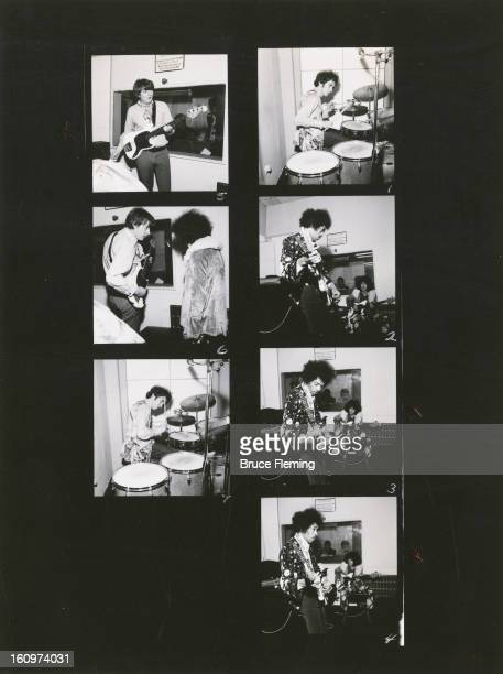 SHEET Rock group The Jimi Hendrix Experience in a London recording studio October 1967 Featured in the shots are guitarist Jimi Hendrix bassist Noel...