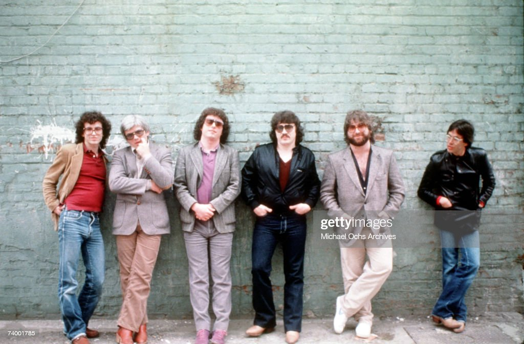 Rock group Toto (L-R Steve Porcaro, David Hungate, Steve Lukather, Bobby Kimball, David Paich and Jeff Porcaro) pose for a portrait in May 1982 in los Angeles, California