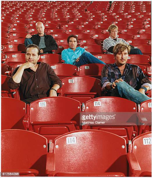 Rock group Train front row Rob Hotchkiss Charlie Colin back row Jimmy Stafford Patrick Monahan and Scott Underwood