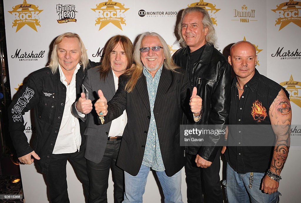 Rock group Uriah Heep attends the Classic Rock Roll Of Honour Awards at the Park Lane Hotel on November 2, 2009 in London, England.