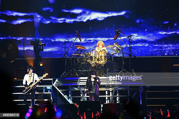 Rock group X Japan performs onstage at the Yokohama Arena on December 2 2015 in Yokohama Japan