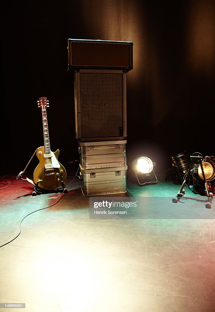 Rock guitar gear on stage : Stock Photo