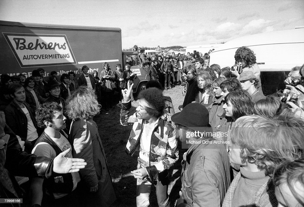 Rock guitarist Jimi Hendrix arrives at his last concert on September 6, 1970 in Isle of Fehmarn, Germany.