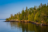 A early morning photograph of Rock Harbor in Isle Royale National Park, Michigan, USA