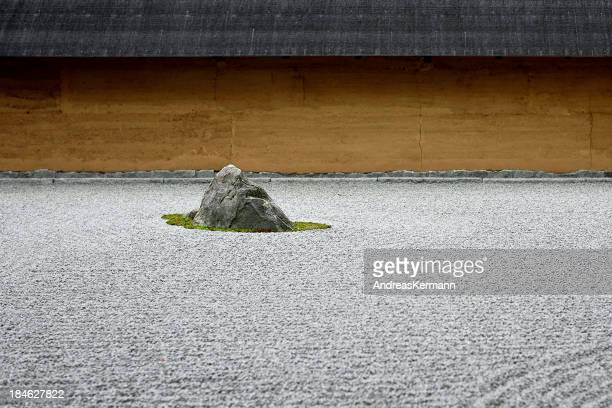 Rock in Japanese garden with raked pebbles