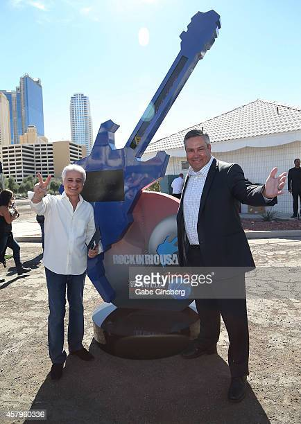 Rock in Rio founder Roberto Medina and Senior Vice President of Entertainment for MGM Resorts International Chris Baldizan attend a news conference...