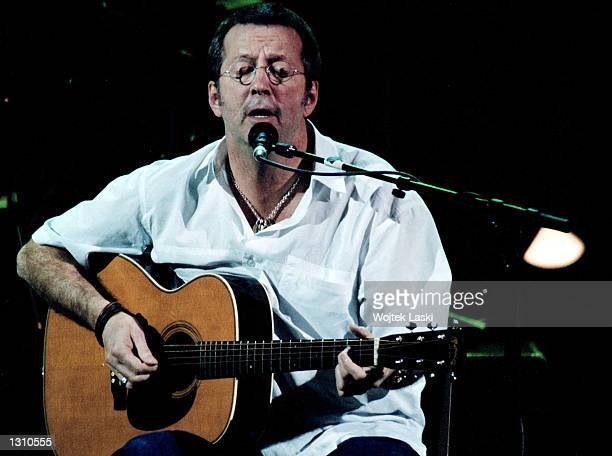 Rock legend Eric Clapton performs April 10 2001 from the stage of the Kremlin''s Congress Hall in Moscow Russia This was the final concert on his...
