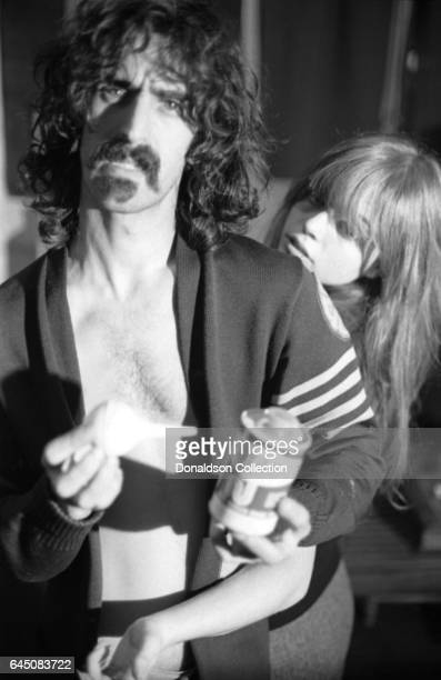 Rock musician and composer Frank Zappa and his wife Gail pose for a portrait session for the cover of the album 'Absolutely Free' at home in 1967 in...
