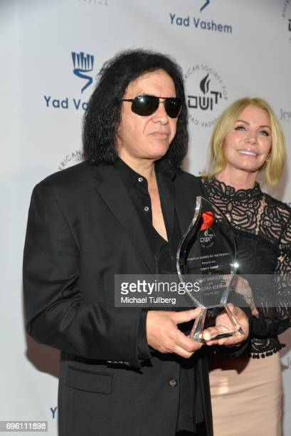 Rock musician Gene Simmons and Shannon Tweed attend the American Society for Yad Vashem and the Jewish Life Foundation's Salute To Hollywood Gala at...