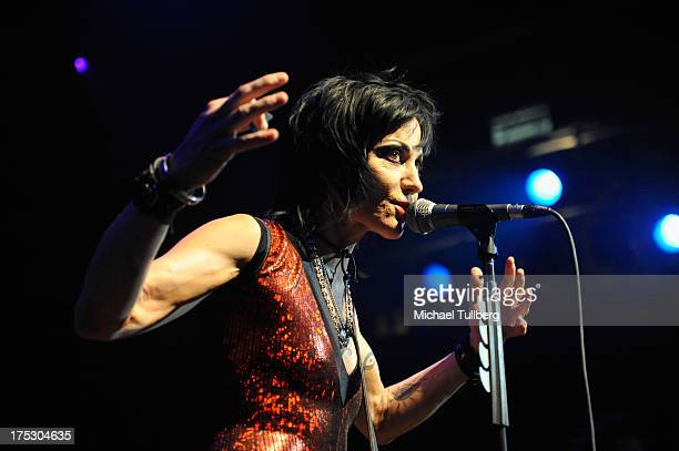 Rock musician Joan Jett performs live at the 6th Annual Sunset Strip Music Festival's Launch Party honoring Jett at House of Blues Sunset Strip on...