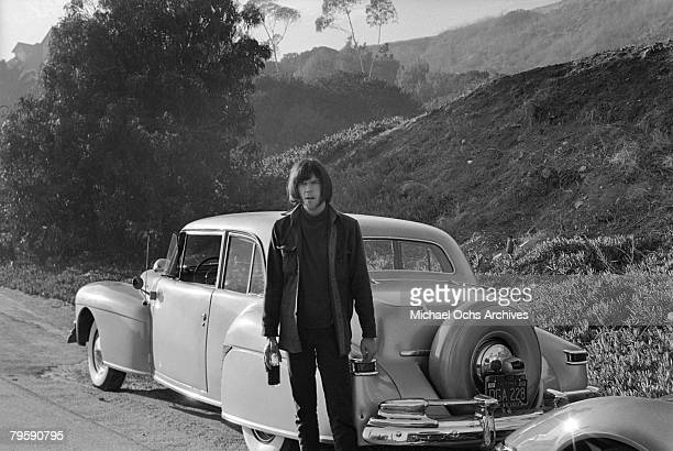 Rock musician Neil Young of Buffalo Springfield outside his house on October 30 1967 in Los Angeles California