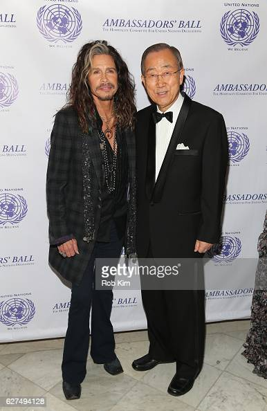 Rock musician Steven Tyler and UN SecretaryGeneral Ban Kimoon attend The Hospitality Committee For United Nations Delegations Inc Ambassadors' Ball...