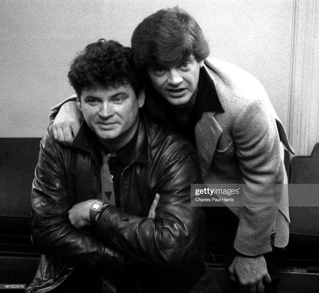 Rock 'n' roll and country artists The Everly Brothers at a Press Reception to launch their reunion tour, at BAFTA, Piccadilly on September 19, 1983, in London, UK.
