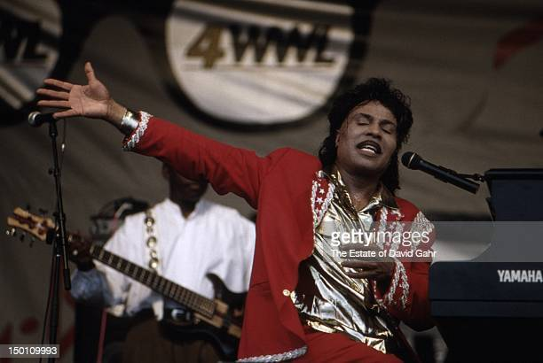 Rock n' roll singer songwriter and pianist Little Richard performs at the New Orleans Jazz and Heritage Festival in April 1994 in New Orleans...