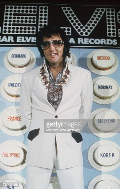 Rock 'n' Roll star Elvis Presley holds a press conference at the Las Vegas Hilton Hotel to announce his upcoming concert 'Aloha from Hawaii' on...