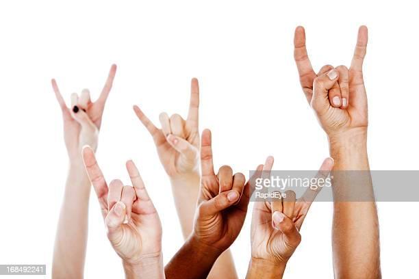 Rock! Multiraciale Diable horns Geste de la main