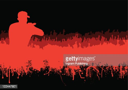 Rock Or Music Concert Crowd In Silhouette With Grunge Ink ...