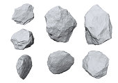 rocks set isolated on white background.
