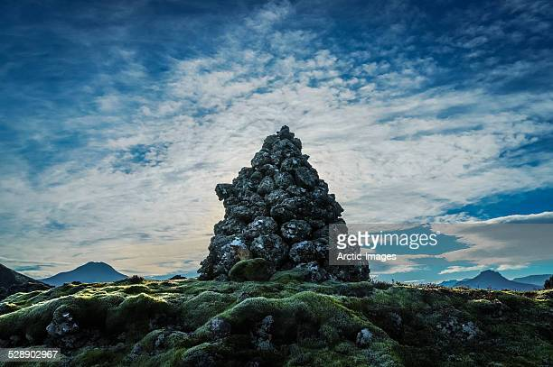 Rock pile, moss and lava fields, Iceland