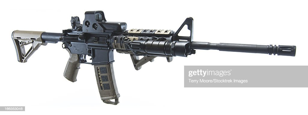 Rock River Arms AR-15 rifle equipped with combat light..