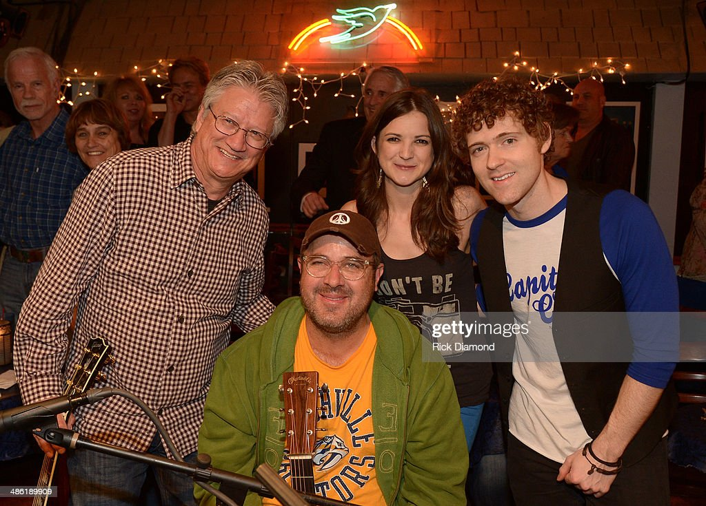 Rock & Roll Hall of Fame member Richie Furay, Sarah Zimmermann & Justin Davis of Striking Matches and Grand Ole Opry member Vince Gill (sitting) during the SoundExchange Influencers Series launch at Bluebird Cafe on April 22, 2014 in Nashville, Tennessee.